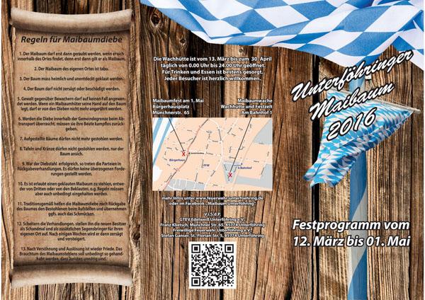 Flyer Maibaum 2016 Seite 1 (Karte & Regeln für Maibaumdiebe)