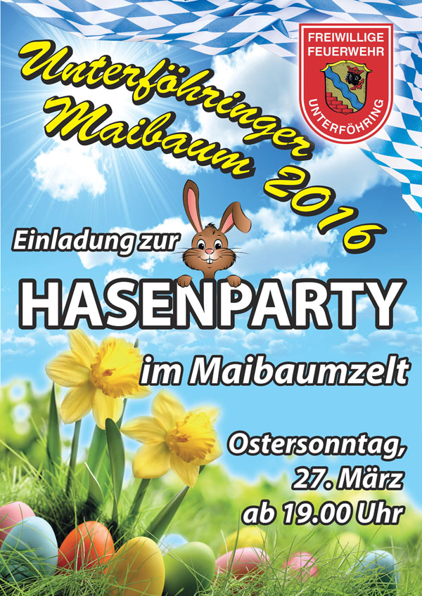 Plakat Hasenparty am 27.03.2016 ab 19 Uhr